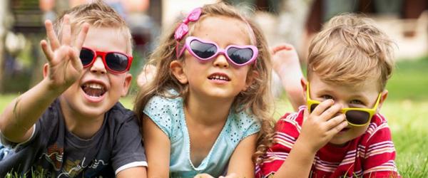 three kids wearing sunglasses